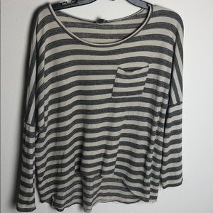 High Low Striped Long Sleeve Shirt